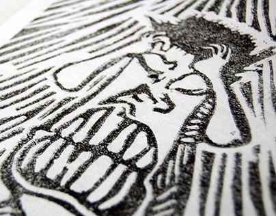 Linogravure // Linoleum engravure - Masque // Mask