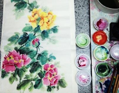 Peony Chinese Brush Painting