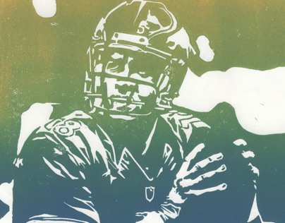 Greatest of All Time - Peyton Manning - Linocut