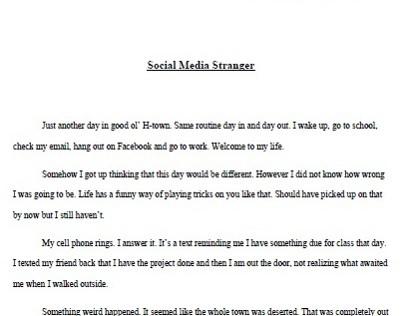 Social Media Stranger- English II- Intro to Literature