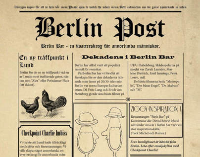 Berlin Bar - Menue design, illustration, webbdesign