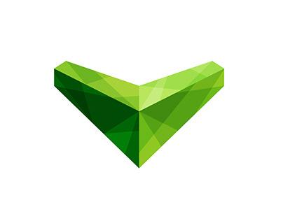 V Letter polygonal logo