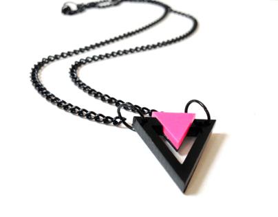 Mini Black&Pink Triangle Necklace