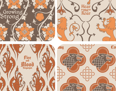 House crests fabric patterns