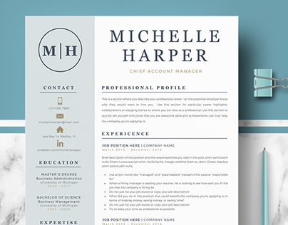 Professional Resume Template for Ms Word and Pages