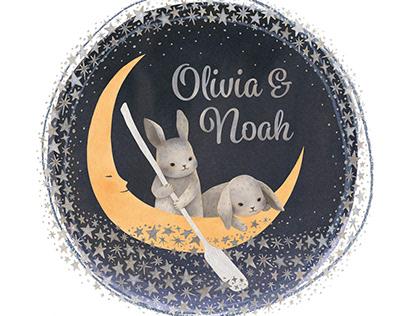 Two Bunnies on Moon Boat