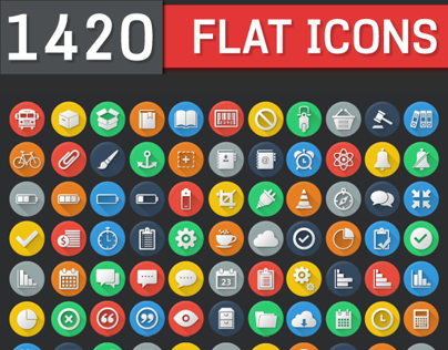1420 Flat Icons - Colorful Icon Set | FlatLineIcons.com