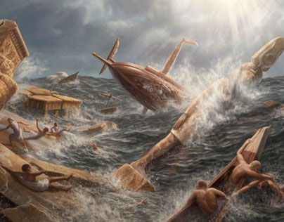 Historical Depiction: Heracleion Sinking