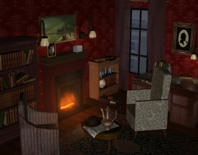 3D Rendered Environment: Sherlock Holmes' Study