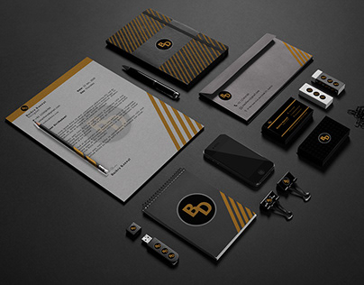 Business Card Letterhead and Envelope Free PSD