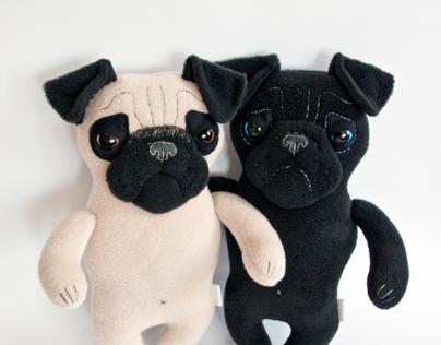 Plush Pugs, soft art toys
