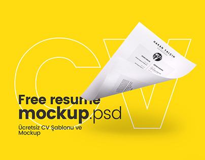 Free Resume Temp. Mockup / Ücretsiz CV Şablonu