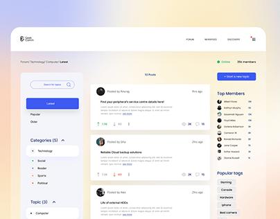 Forum Page User Interface Design