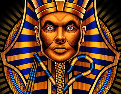 "Flow N Roll ""Pharaoh"" rash guard illustration"
