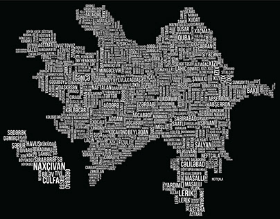 Azerbaijan Map in Typography