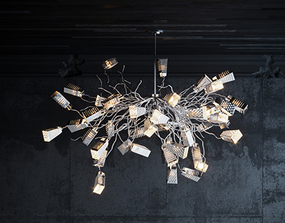 Cheese Grater Chandelier Product Render