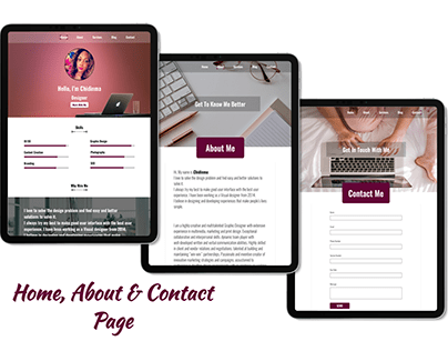 Landing, About and Contact Pages for a personal website