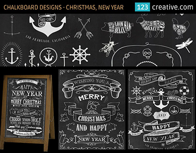 Chalkboard design templates for Christmas and New Year