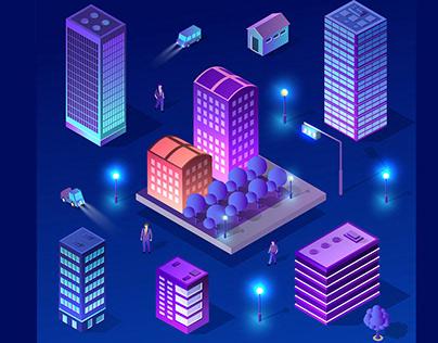 Ultraviolet 3d modern City