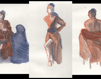 Two-Tone Watercolor Study Triptych