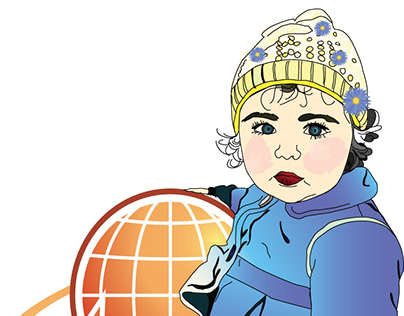 little girl holding the planet