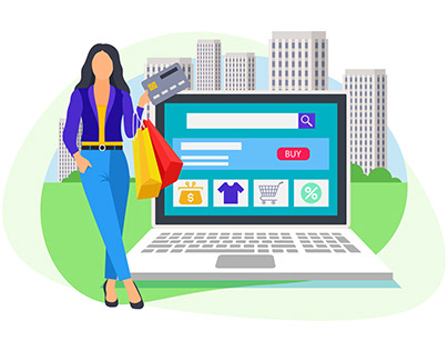 Woman standing near laptop for online payment