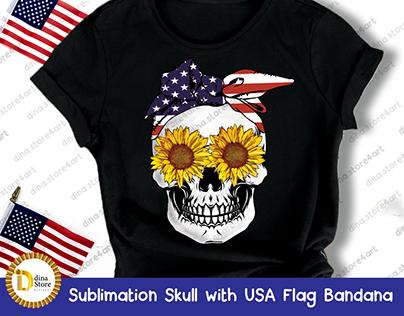 Sublimation Skull with USA Flag Bandana