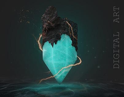 Digital image - green crystal