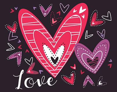 Ilustrações para cartões de amor