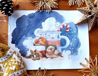 Winter postcards about Christmas dwarfs