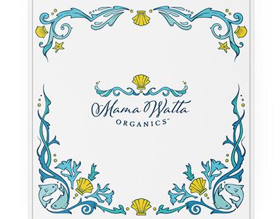 Mama Watta Organics logo, packaging, and website