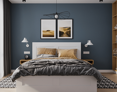 Cute bedroom with blue accent on the wall