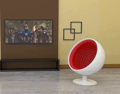 space pod sofa 3d modeling