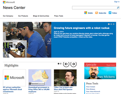 Microsoft News Center - Web Content Management and PM