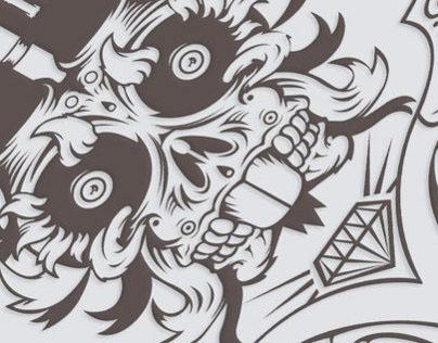 Totem Skateboard Illustration