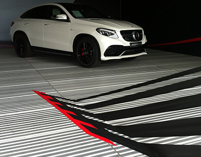 Stage design with tape art for Mercedes AMG