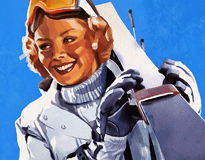"Retro travel poster. ""Hochgurgl"""
