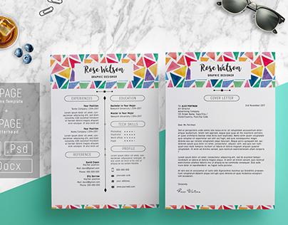 Watercolor Triangle Resume Template - CV/ Letterhead