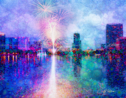 Fireworks at Lake Eola, Orlando, Florida 4th of July