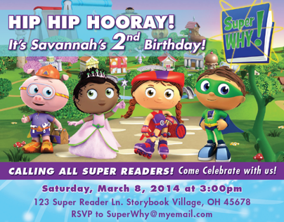 Super Why! Birthday Invitation