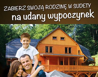 """Plakat """"Alpejski Dwór"""" - Wypoczynek w Sudetach"""