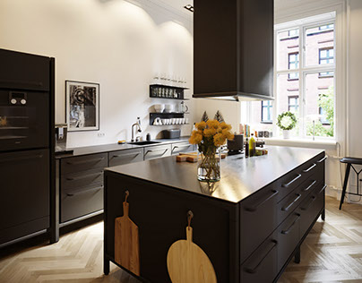 Vipp Kitchen in Scandinavian Apartment