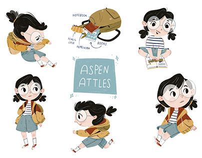 The Curious Life of Aspen Attles character designs
