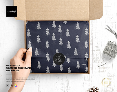 Mailer Box Wrapping Tissue Paper Mockup Set