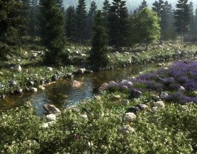 3D  landschap Made wutg Vue by Michel Rondberg