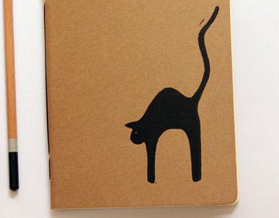 Black Cat - Linoleum Block Printed Handbound Notebook