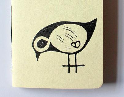 Lovely Bird - Pocket size - Linoleum Block Printed