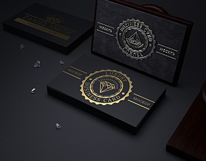 Black gold business card mock up on behance reheart Gallery