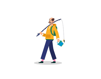 Fisherman Walking Vector Illustration Art