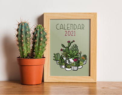 Calendar for 2021 with painted cactuses